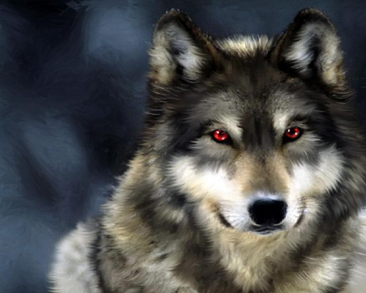 Hungry Wolf Red Eyes